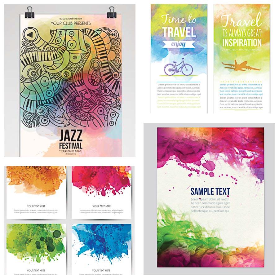 Watercolor Poster Music Set Vector