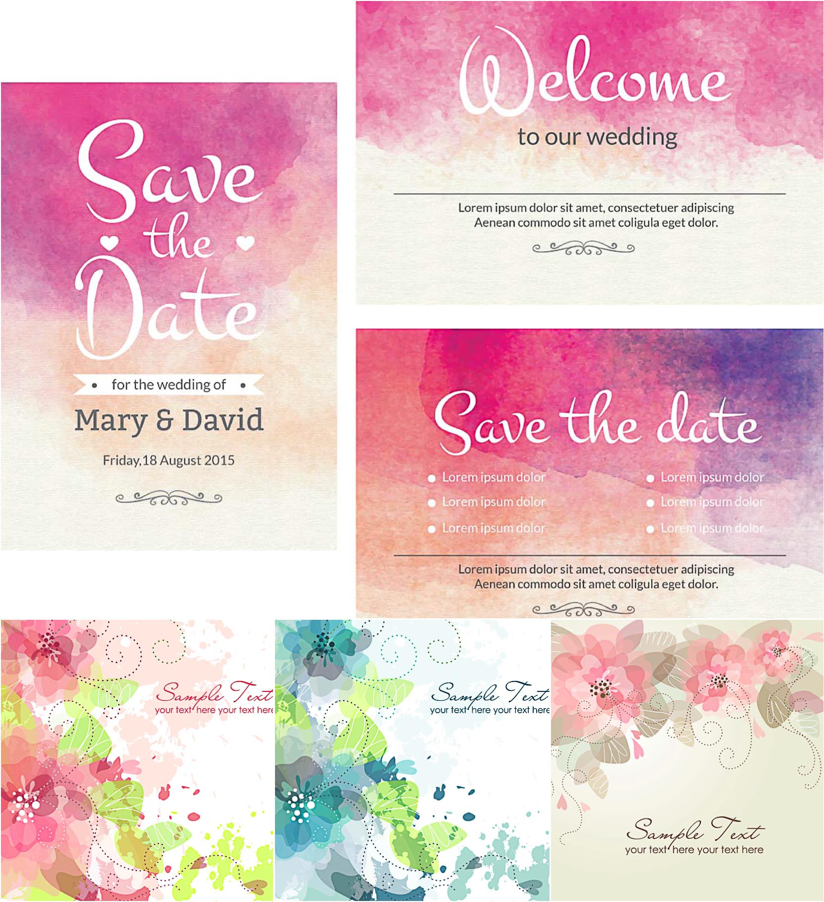 Lovely wedding invitation cards with watercolor design set vector