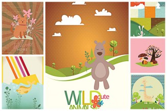 Cute wild animals childish cartoon poster set vector