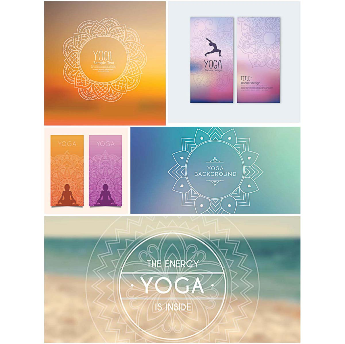 Yoga Banners Set Vector