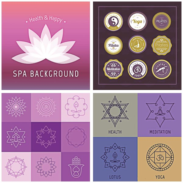 Yoga badges and elements set vector