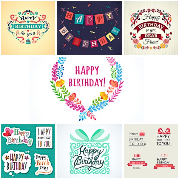 Modern floral Birthday cards and labels set vector