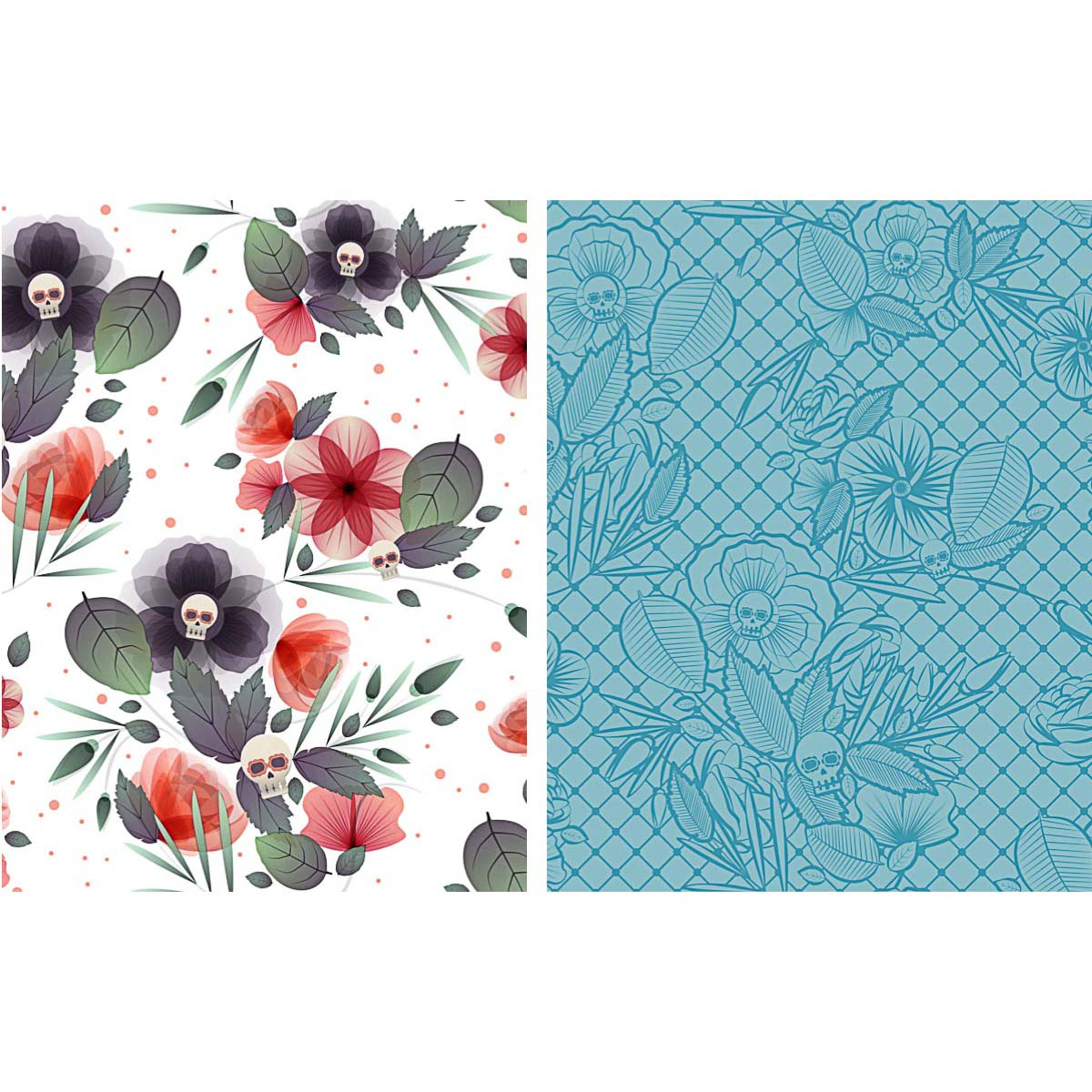 Floral skulls pattern set vector