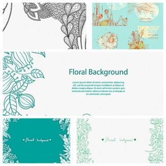Ornate floral nature backgrounds set vector