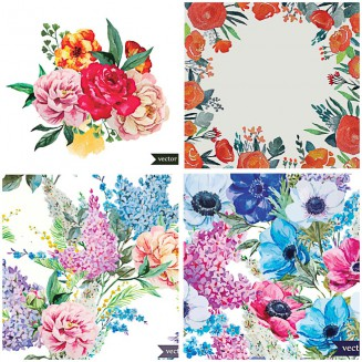Hand painted lilacs and peonies pattern set vector