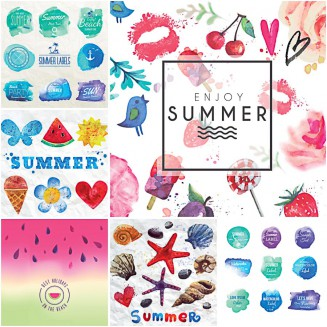 Hand painted summer cards and badges set vector