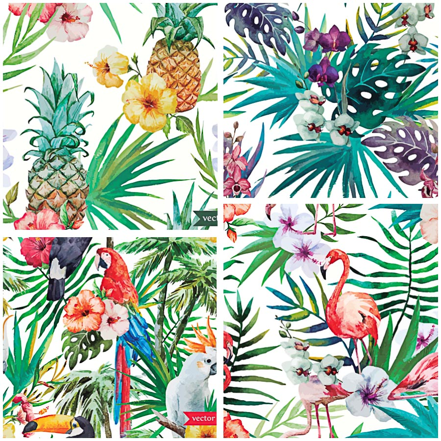Tropical watercolor patterns with birds set vector