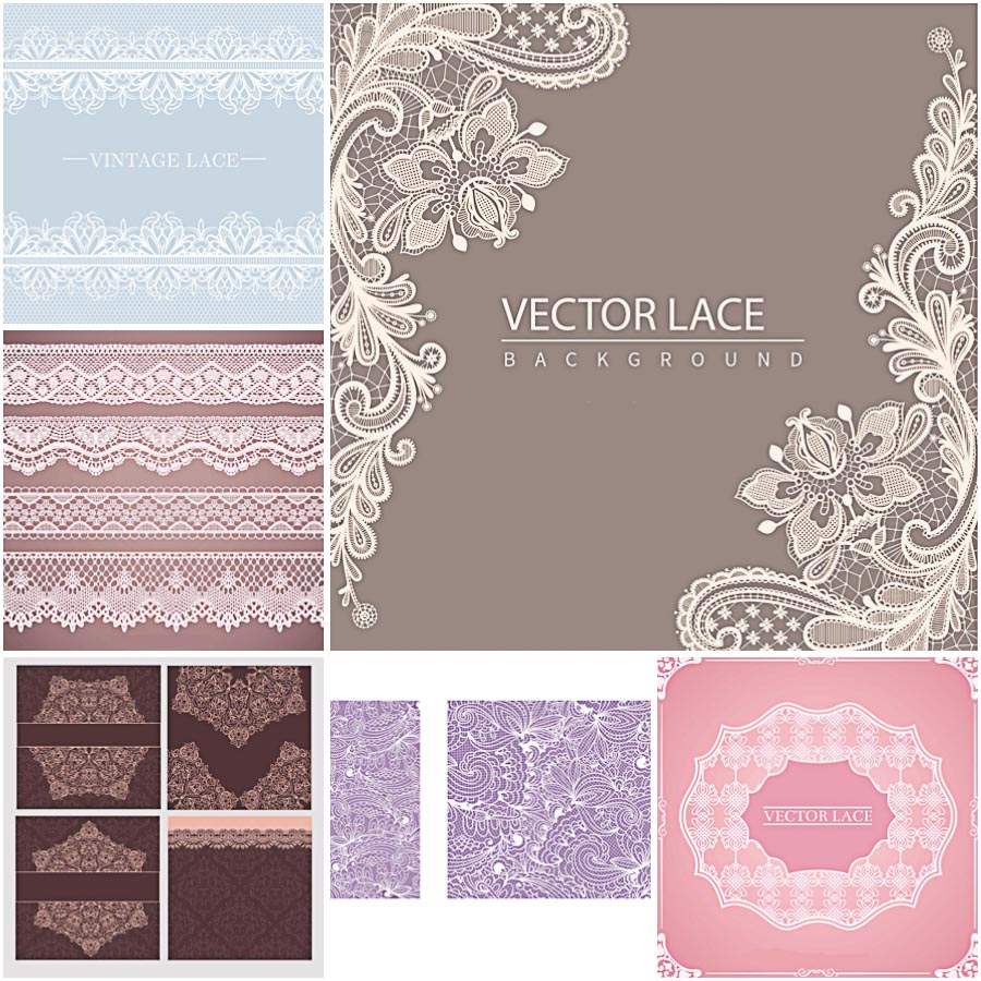 Lace borders and background set vector