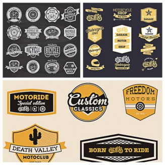 Retro motorcycle labels and badges set vector