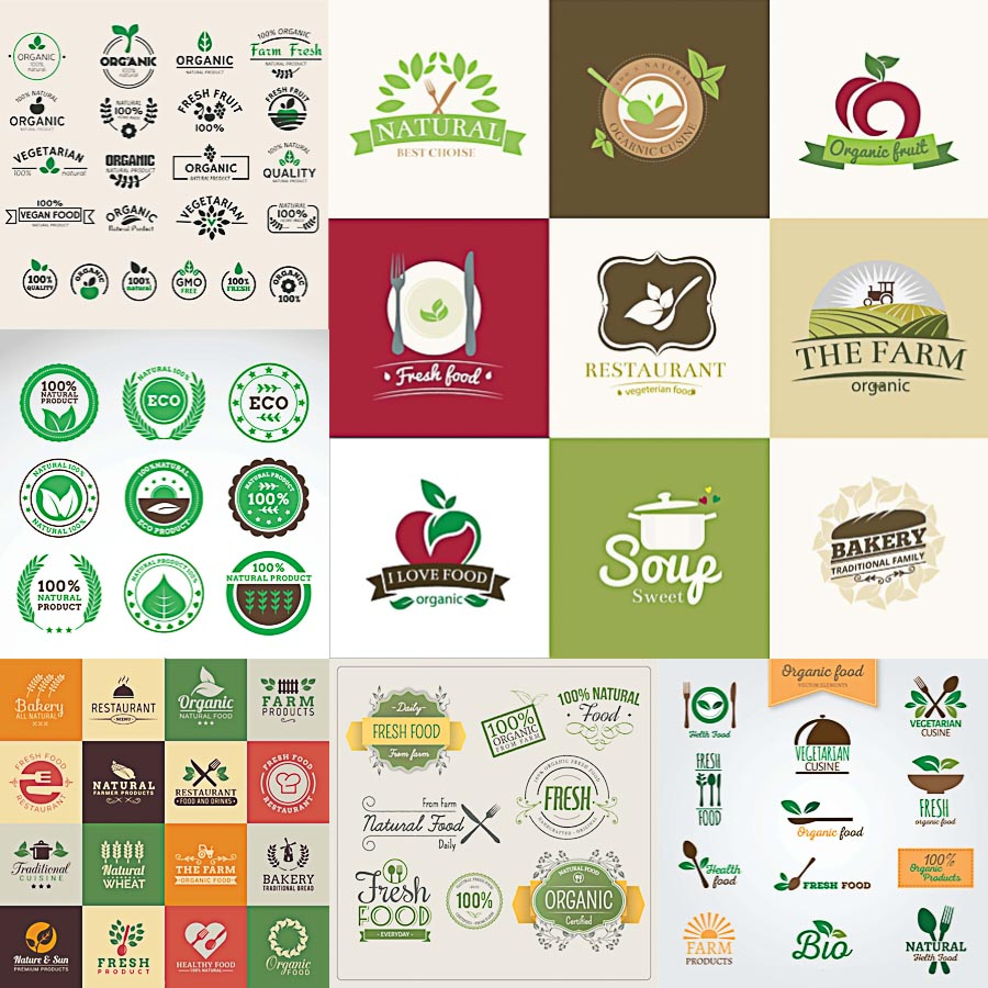Organic and natural food badges logo set vector