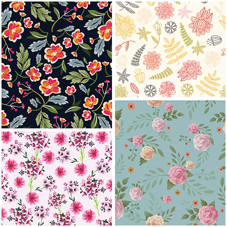 Floral pattern hand painted retro set vector