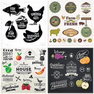 Fresh food badges restaurant set vector