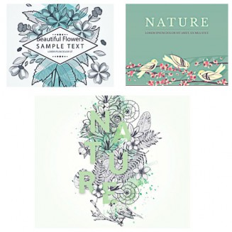 Nature backgrounds with hand drawn birds set vector