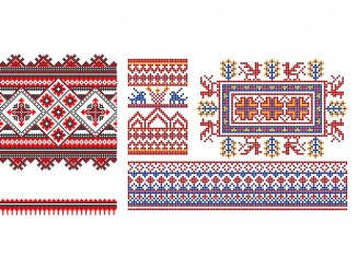 Old Ukrainian and Russian patterns set vector