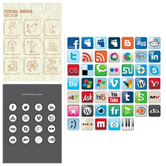 Hand drawn social media icons set vector