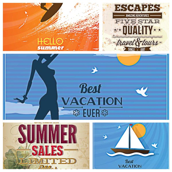 Retro summer card vacation set vector