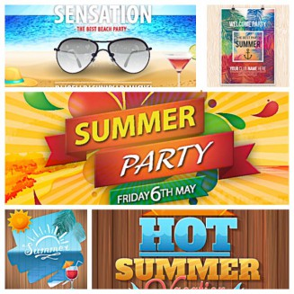 Summer party invitation poster party set vector