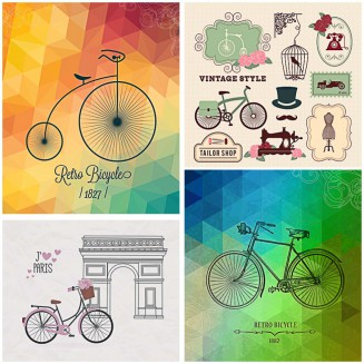 Retro bicycle hipster design set vector