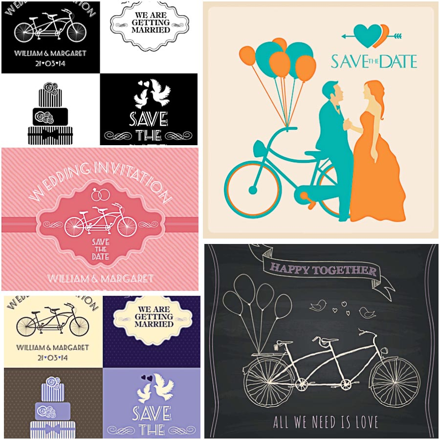 Wedding invitation card vintage bicycle set vector