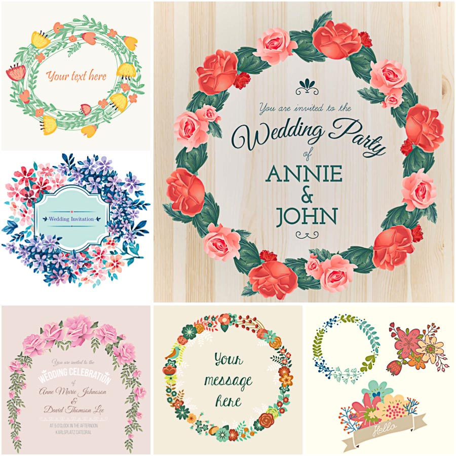 Floral wreaths for wedding invitation card set vector