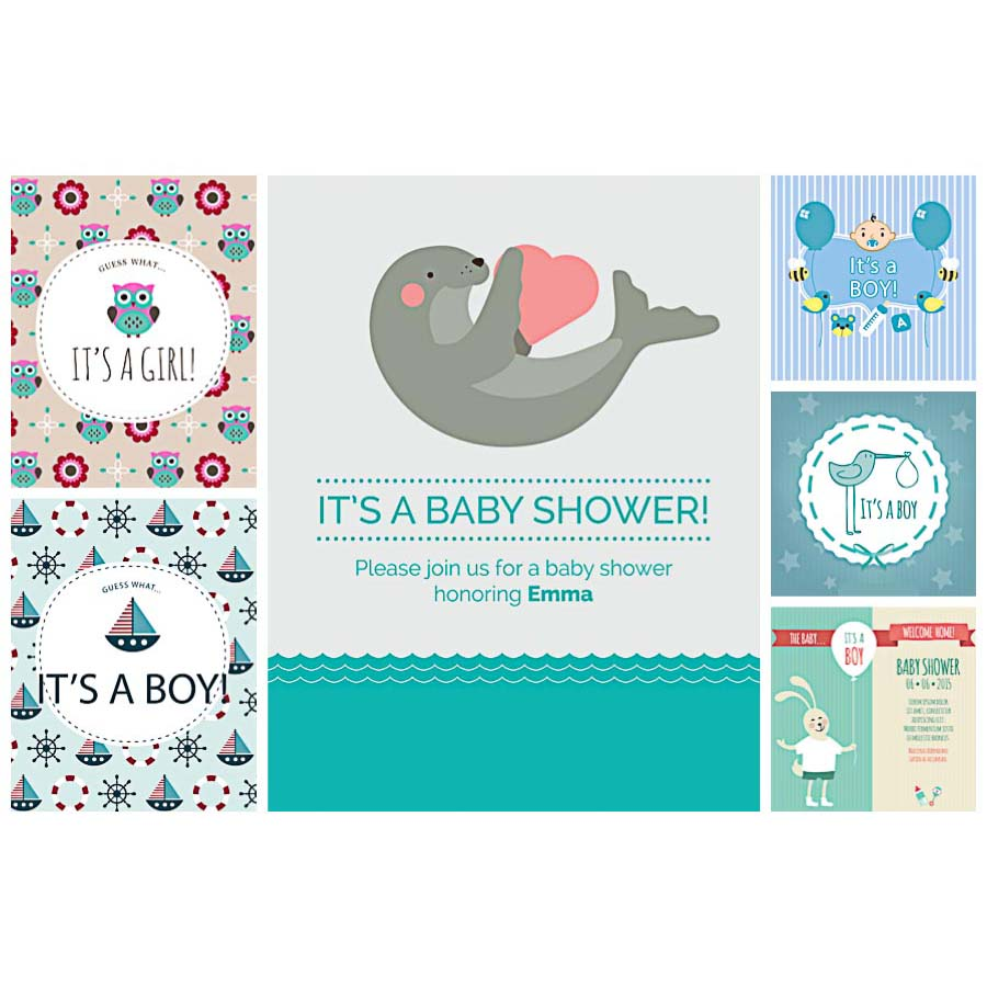 Baby shower invitation card cute set vector