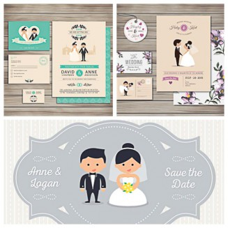 Lovely wedding invitation cards with cartoon characters set vector