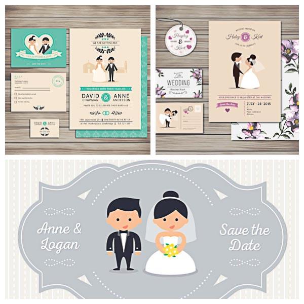Cute Wedding Invitation Collection Set Vector