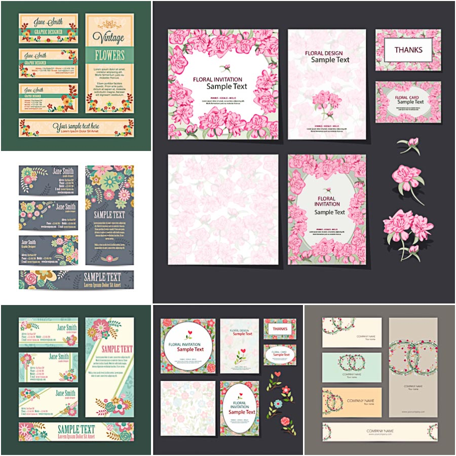 Floral corporate identity set vector
