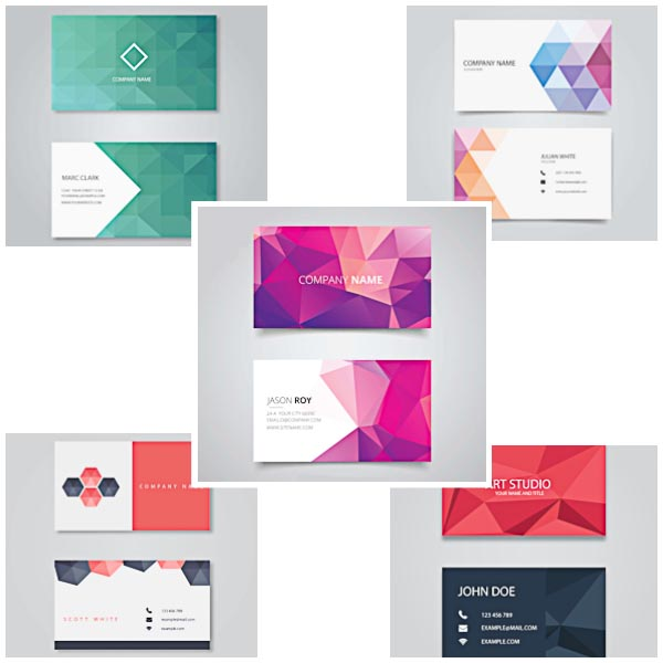 Business cards with polygons modern set vector