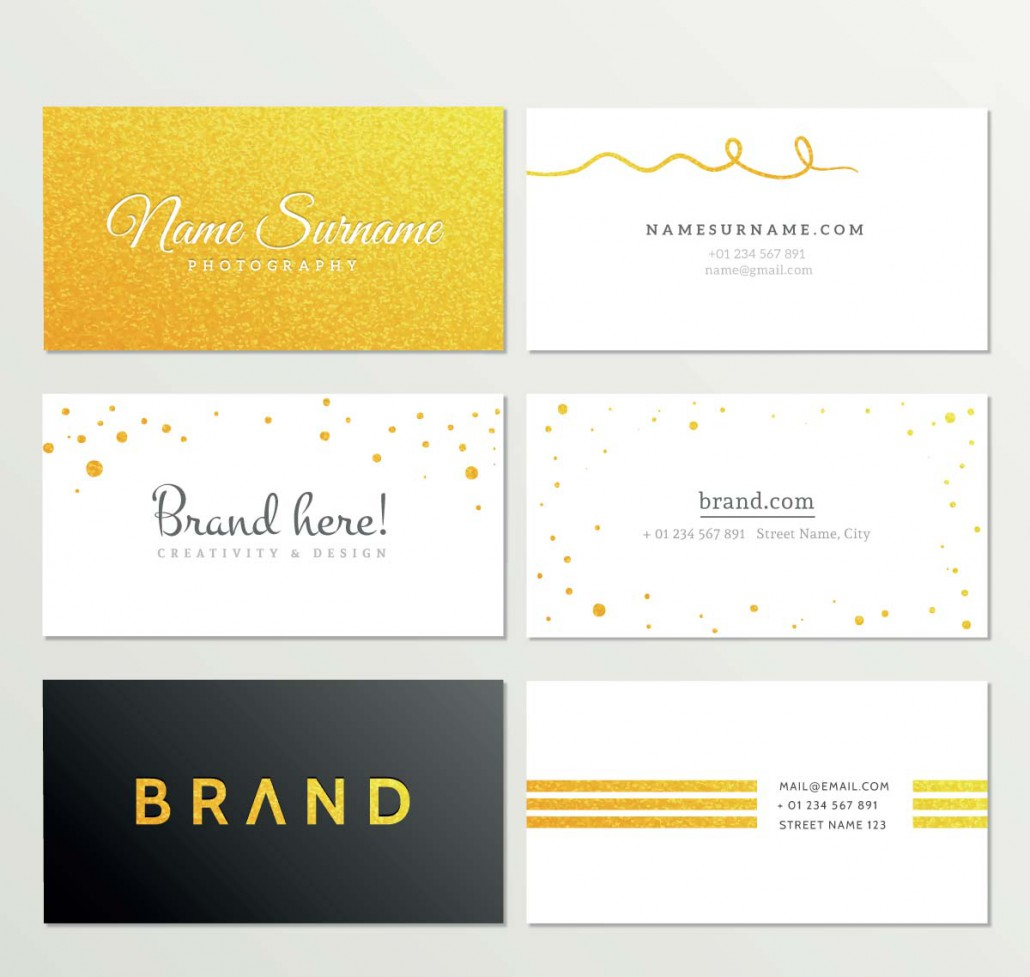 Gold business card set vector