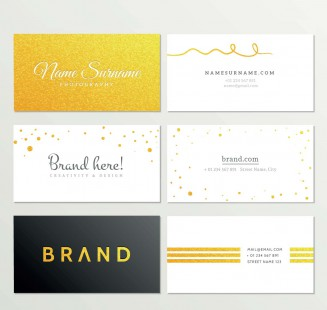 Brand identity gold business card set vector