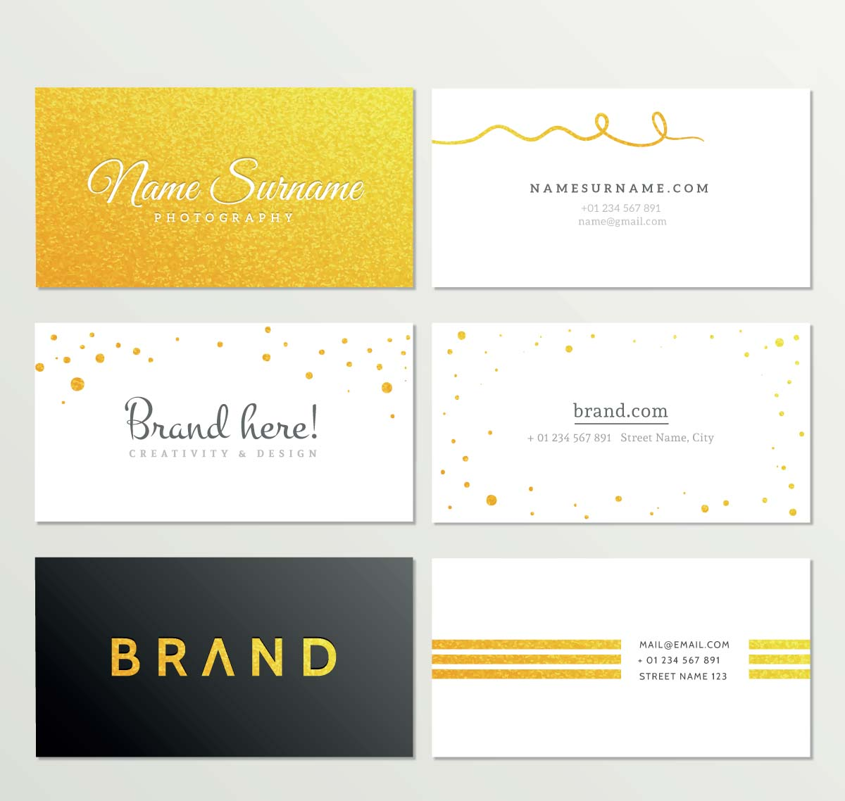 Gold business card set vector free download gold business card set vector reheart Choice Image