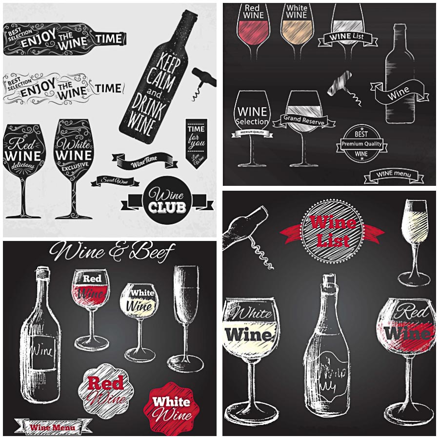 Sketchy wine badges list set vector