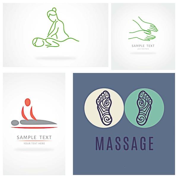 Massage beauty salon logotype set vector
