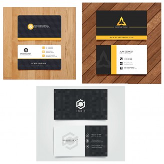 Laconic logo black business card set vector