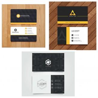 Laconic logo black business card set vector