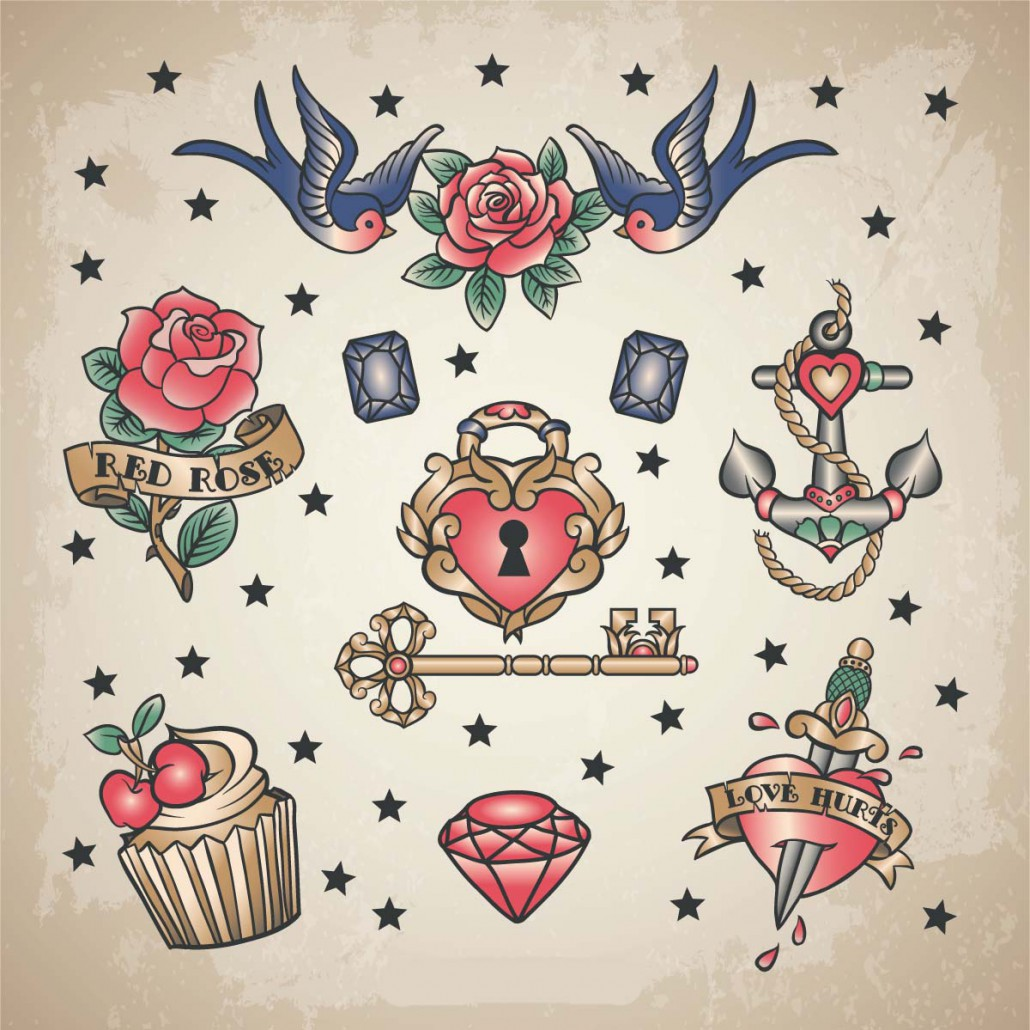 Retro love tattoo set vector free download - Mobeltattoo vintage ...