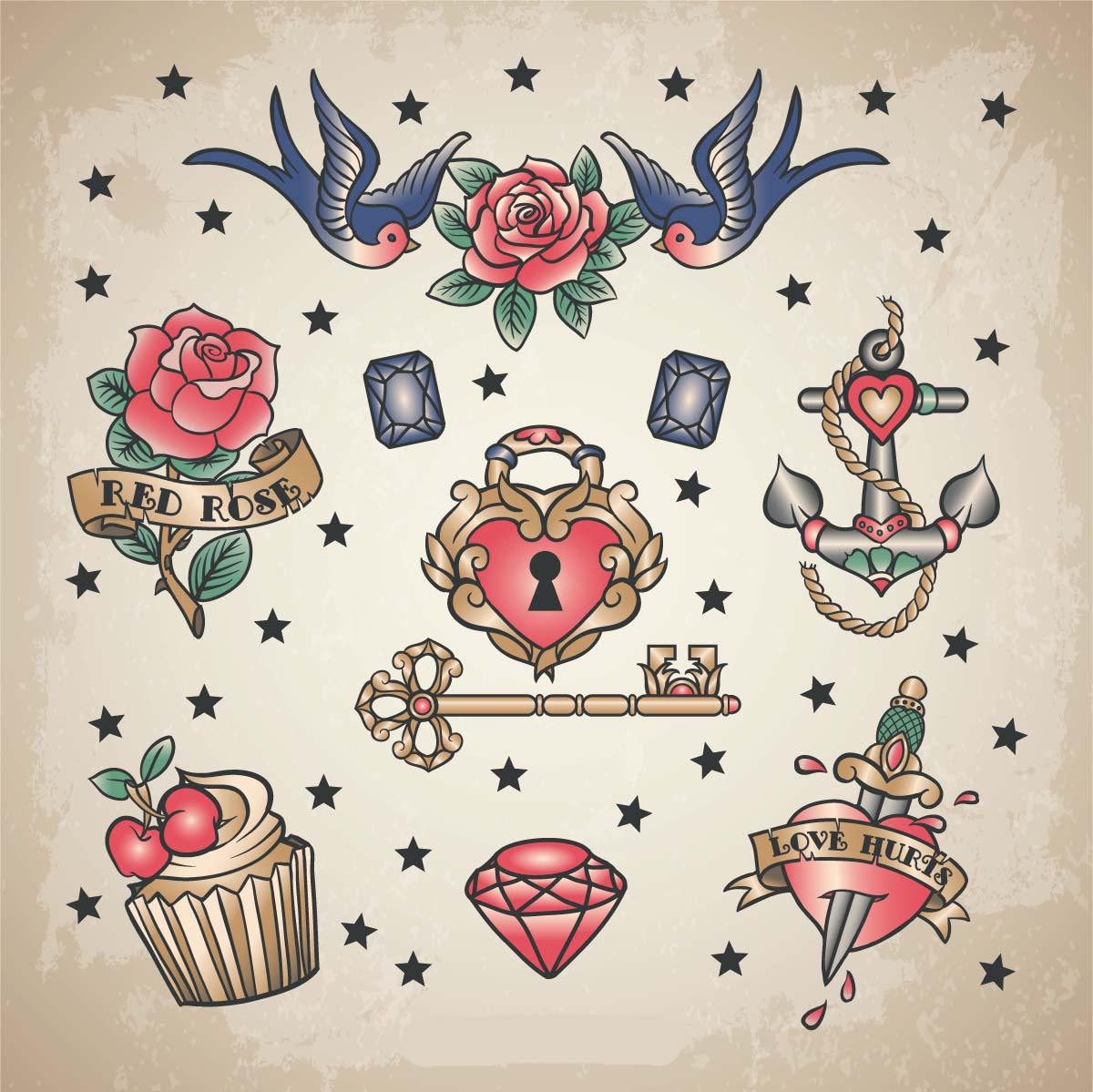 retro love tattoo set vector free download