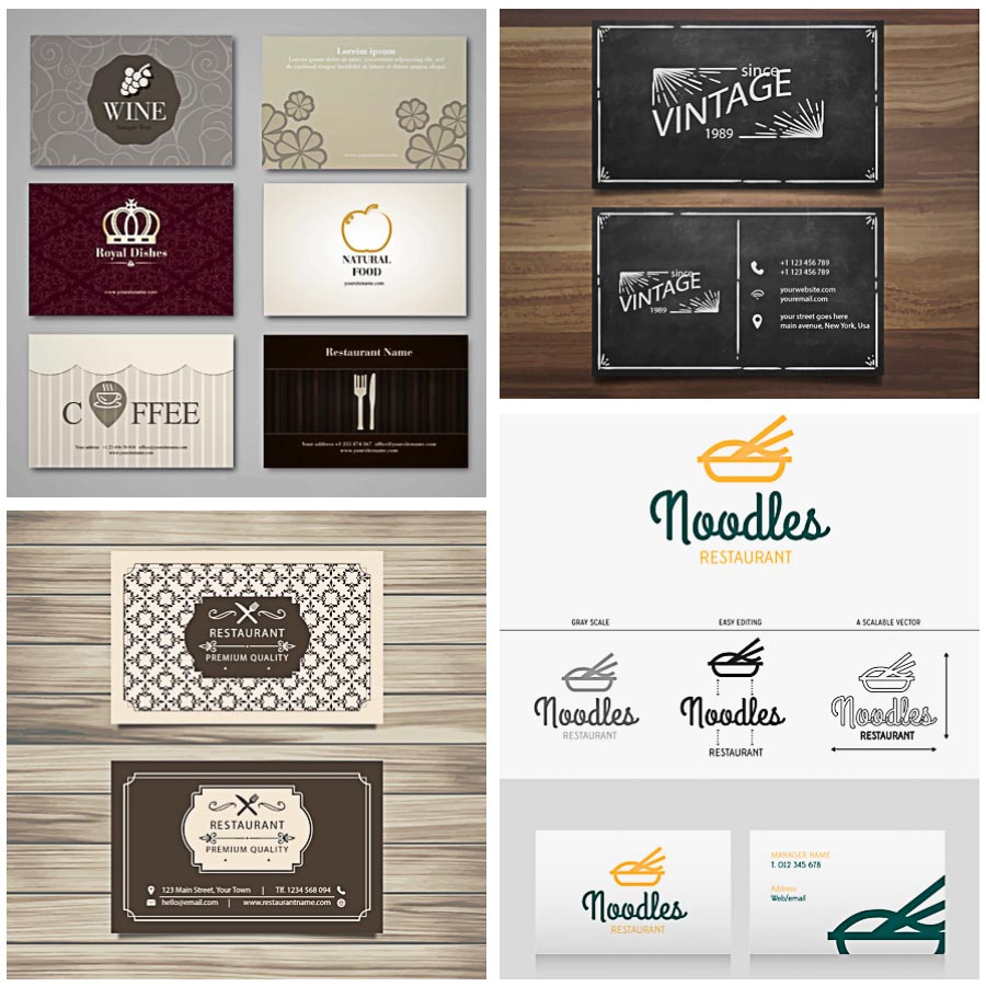 Restaurant business card retro set vector