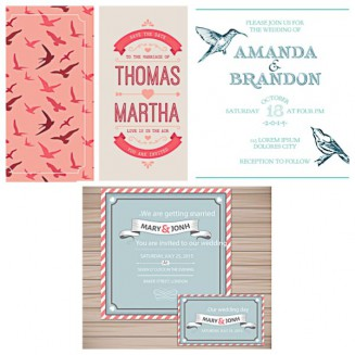 Lovely wedding card invitation with birds set vector