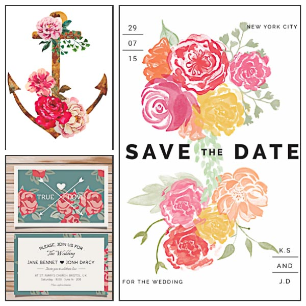 Floral watercolor wedding invitations modern set vector