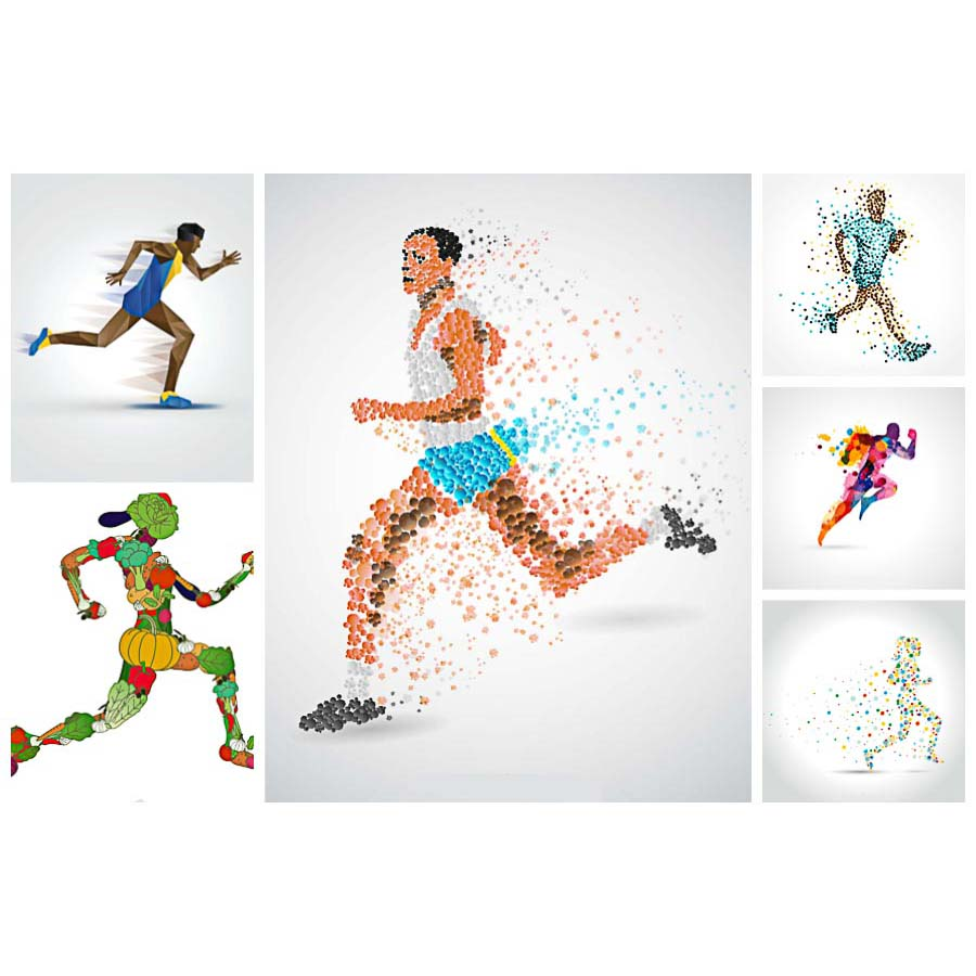 Athlete running sport abstract set vector