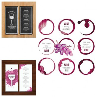 Wine list abstract menu stain circles set vector