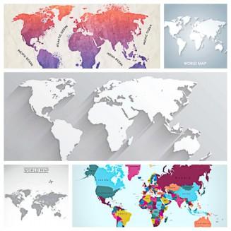 Modern world map background set vector