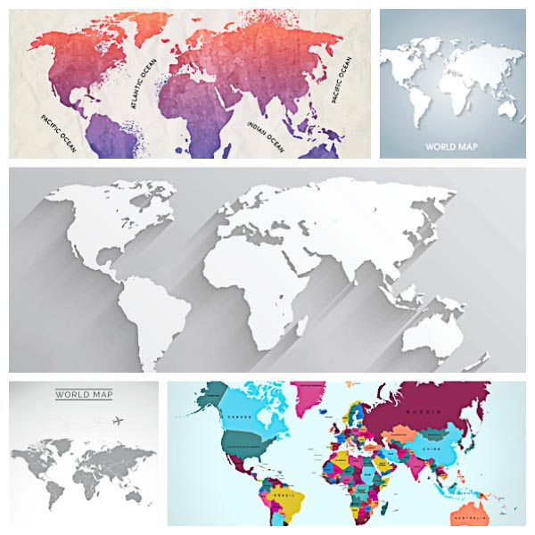 Modern world map background set vector