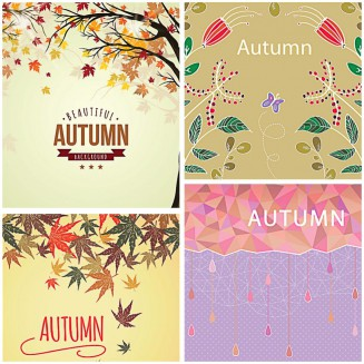 Lovely autumn backgrounds with leaves set vector