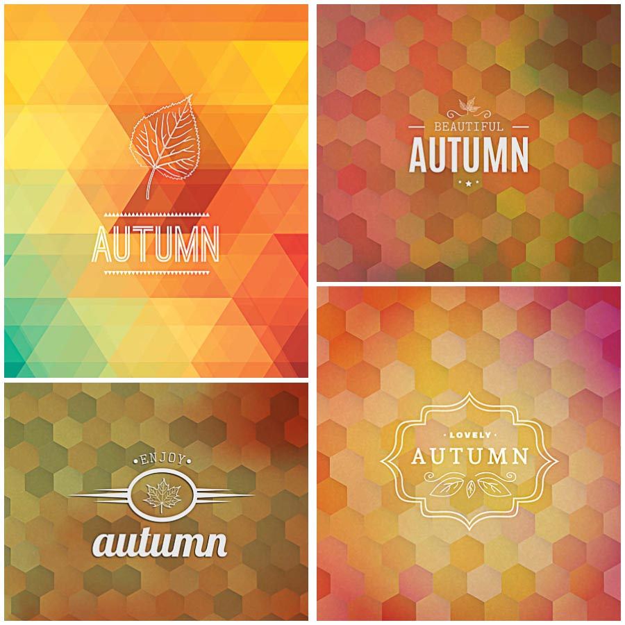 Fall backgrounds modern geometric set vector