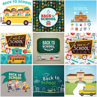 Back to school illustrations and icons set vector