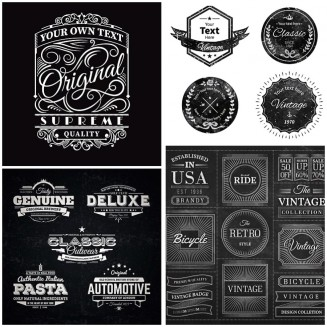 Vintage ornate badges on blackboard set vector