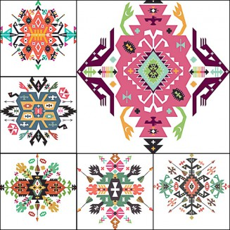 Geometric ethnic Indian ornament set vector